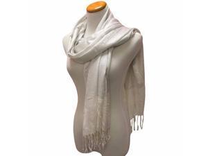 White Metallic Shimmery Pashmina Luxurious Scarf Wrap Shawl
