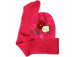 Floral Hand Knitted 2 Piece Hat & Scarf Matching Set