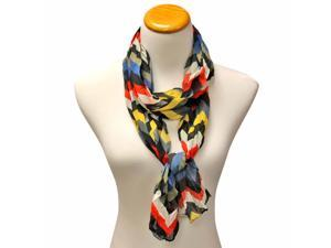 Black Gray Yellow Red Zig Zag Stripe Crinkle Chiffon Scarf