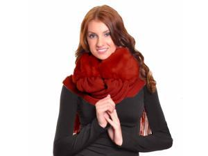 Burgundy Thick Cloche Neck Warmer With Long Fringed Scarf Wrap