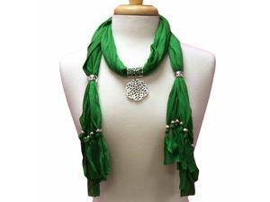 Green Lightweight Flower Charm Pendant Scarf With Fringe