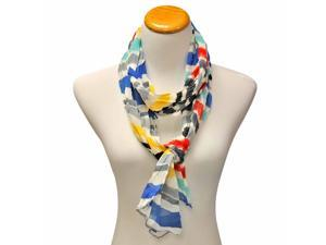 Red Blue Green Yellow Striped Long Crinkle Chiffon Scarf
