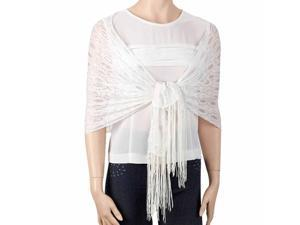 White Lightweight Metallic Lace Shawl Scarf Wrap