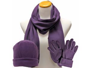 Purple 3 Piece Polar Fleece Hat Scarf & Glove Matching Set