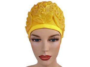 Yellow Floral Embossed Latex Swim Bathing Cap