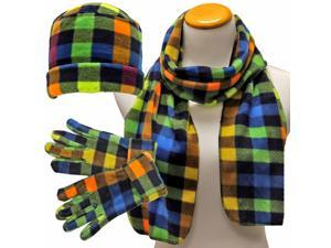 Green Yellow & Blue Checker Plaid 3 Piece Fleece Hat Scarf & Glove Set