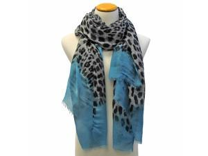 Blue Ombre Faded Animal Print Scarf Wrap With Raw Edges
