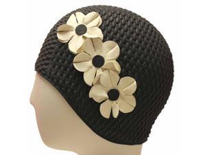 Black W/White Flowers Vintage Style Latex Swim Bathing Cap