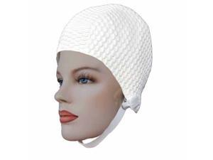 Textured White Latex Rubber Swimming Bathing Cap