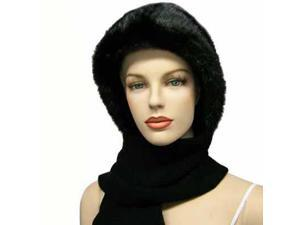 Faux Fur Cloche Hood Cowl & Knit Scarf Hat