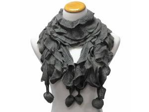 Gray Ultra Soft Acrylic Knit Ruffled Scarf With Pom-Poms