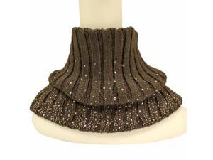 Brown Winter Ribbed Knit Rhinestone Neck Warmer Cuff Scarf