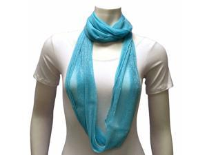 Turquoise Light Sheer Metallic Ring Infinity Scarf
