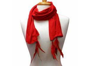 Solid Red Long Scarf With Feather & Beaded Charms