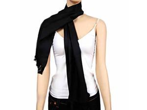Men's Black Long Silk Formal Evening Scarf