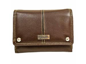 Brown Buxton Leather Men's Credit Card Folio Wallet