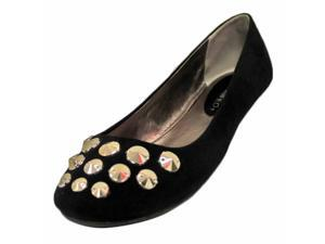 Black Suede Styled Slip On Ballet Flats With Silver Studded Toe