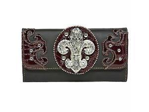 Black & Brown Western Style Rhinestone Fleur De Lis Long Wallet