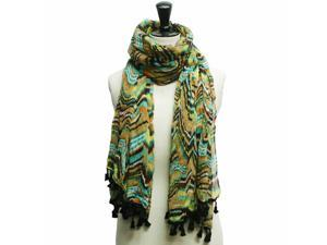 Aqua Blue Multi Color Crinkled Retro Print Tassel Scarf Wrap