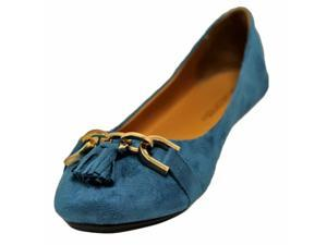 Teal Blue Suede Styled Ballet Flats With Gold Buckle & Tassel