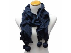 Teal Blue Ultra Soft Acrylic Knit Ruffled Scarf With Pom-Poms