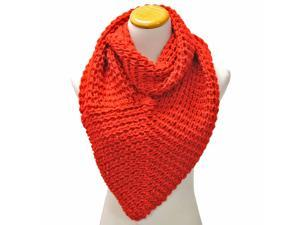 Red Thick Winter Knit Triangle Infinity Shawl Scarf
