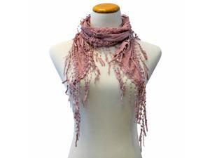 Mauve Pink Thin Lace Lightweight Sheer Scarf With Fringe