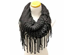 Black Versatile Knit Infinity Tube Scarf With Long Draping Fringe