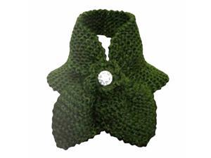Olive Green Stunning Crocheted Knit Flower Collar Neck Scarf