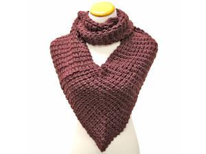 Deep Purple Thick Winter Knit Triangle Infinity Shawl Scarf