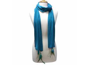 Turquoise Long Scarf With Feather & Beaded Charms