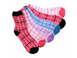 Plaid Soft Fuzzy 6 Pack Assorted Crew Socks