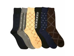 Patterned 6 Pack Men's Assorted Dress Socks