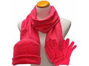 Hot Pink 3 Piece Polar Fleece Hat Scarf & Glove Matching Set