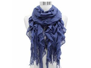 Cornflower Blue Elastic Ruffled Layer Scarf Wrap With Fringe