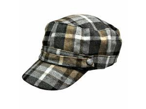 Grey Black Tan Flannel Plaid Newsboy Soldier Cap