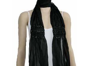 Ruched Sheer Lightweight Black Beaded Scarf Wrap Shawl