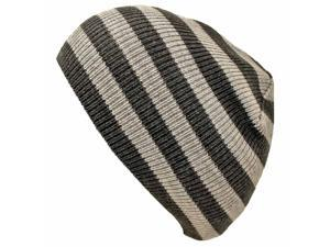Black & Grey Striped Slouchy Knit Beanie Cap Hat