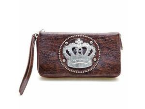 Coffee Brown Rhinestone Crown Organizer Wallet