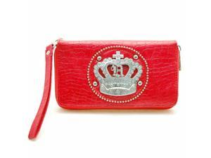 Red Rhinestone Crown Organizer Wallet Wristlet