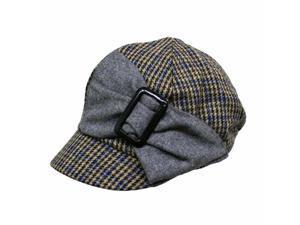 Beige Grey & Blue Hounds Tooth Newsboy Cap Hat