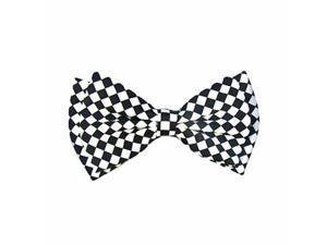 Black White Wild Checker Pre-Tied Men's Bow Tie