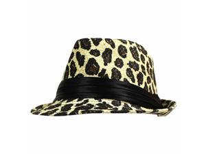 Sexy Leopard Print Lightweight Straw Fedora Hat