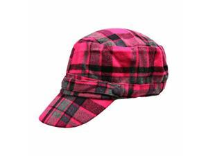 Pink & Grey Flannel Plaid Newsboy Soldier Cap Hat
