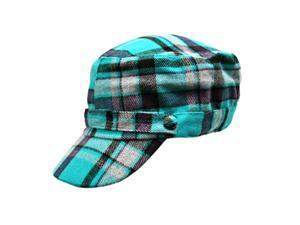 Aqua Blue & Grey Flannel Plaid Newsboy Soldier Cap