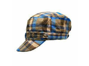 Beige & Blue Flannel Plaid Newsboy Soldier Cap Hat