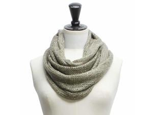 Gray Sequin Specked Open Knit Infinity Circle Ring Scarf
