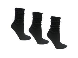 Black All Cotton 3 Pack Heavy Slouch Socks