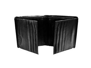 Bi-Fold Black Leather 16 Credit Card Men's Wallet