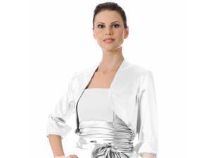 White 3/4 Sleeve Satin Bolero Shrug Jacket